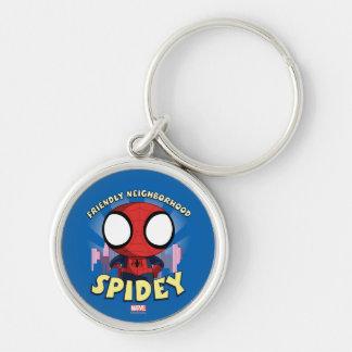 Vecindad amistosa Spidey mini Spider-Man Llavero Redondo Plateado