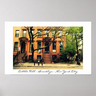 Vecindad de la colina del adoquín de New York City Posters