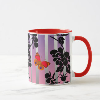 Vector abstract flowers with red  buutterflies mug