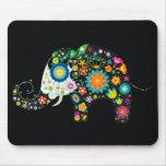 Vector animal floral del elefante lindo de la flor tapete de raton
