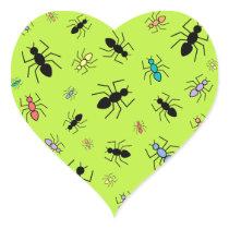 Vector Ant Collage (Grass Green Background) Heart Sticker