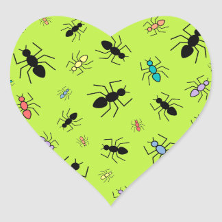 Vector Ant Collage (Grass Green Background) Heart Sticker
