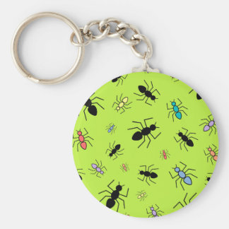 Vector Ant Collage (Grass Green Background) Keychain