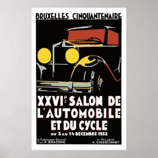 Vector art deco Brussels 1930s auto salon Poster