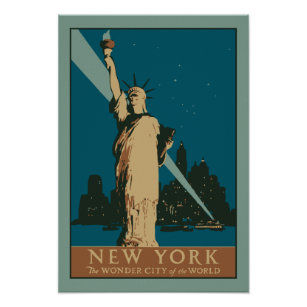 Art Deco Poster New York.Vector Art Deco New York Wonder City Of The World Poster