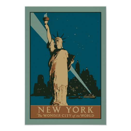 Vector Art Deco New York Wonder City of the World Poster