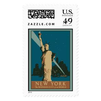 Vector Art Deco New York Wonder City Postage