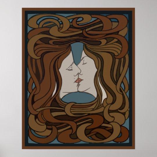 Vector art nouveau two faces kissing poster