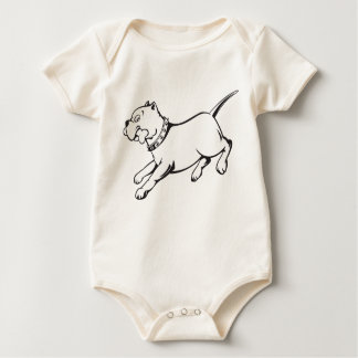 Vector Art Pit Bull Dog-Organic Creeper Baby Shirt