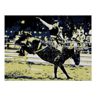 Vector art, Rodeo cowboy bucking bronco Posters