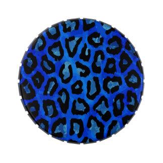 Vector azul de neón del guepardo frascos de caramelos
