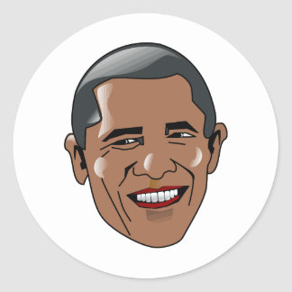 Vector Barack Obama head Classic Round Sticker