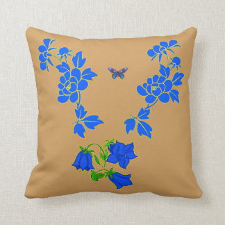 Vector Beautiful blue Butterfly with Blue flowers Throw Pillow