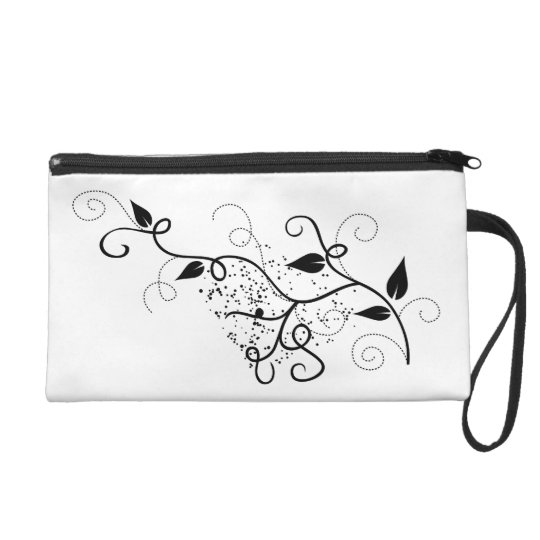 Vector black & white floral nature swirl pattern wristlet purse
