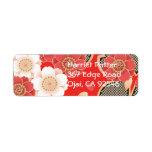 Vector blanco rojo floral retro del vintage lindo etiquetas de remite