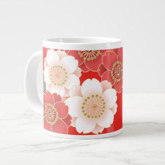 Vector blanco rojo floral retro del vintage lindo taza jumbo