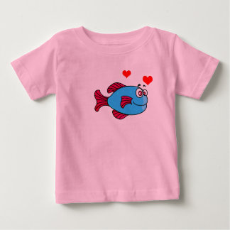 Vector Blue Cartoon  Puffer Fish Baby T-Shirt