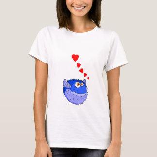 Vector Blue Cartoon Puffer Fish T-Shirt