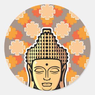 Vector Buddha head golden with background Classic Round Sticker