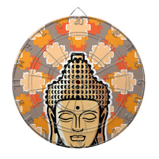 Vector Buddha head golden with background Dart Board