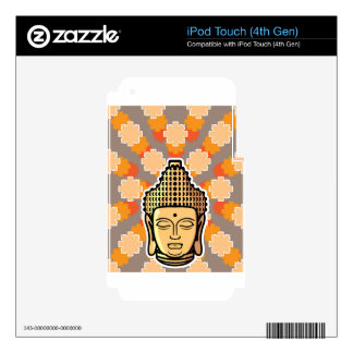Vector Buddha head golden with background Decal For iPod Touch 4G