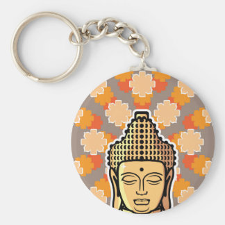 Vector Buddha head golden with background Keychain