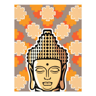 Vector Buddha head golden with background Letterhead
