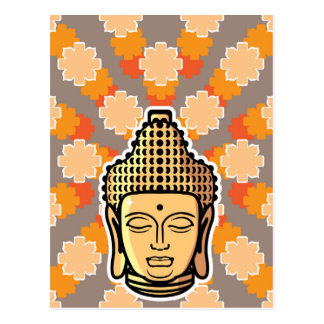 Vector Buddha head golden with background Postcard