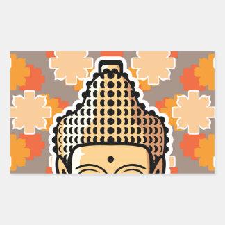 Vector Buddha head golden with background Rectangular Sticker