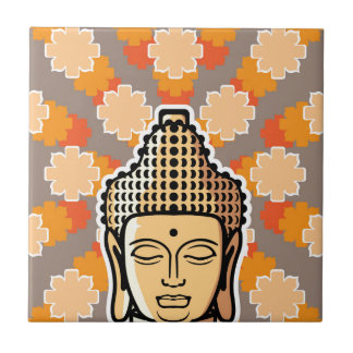 Vector Buddha head golden with background Small Square Tile