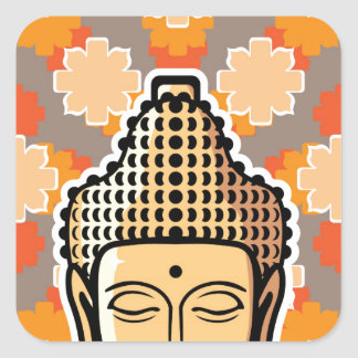 Vector Buddha head golden with background Square Sticker