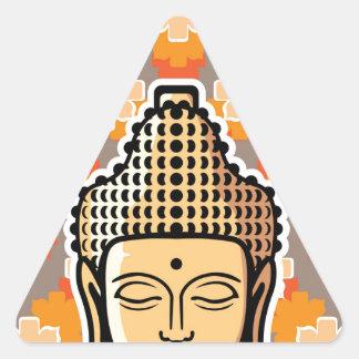 Vector Buddha head golden with background Triangle Sticker
