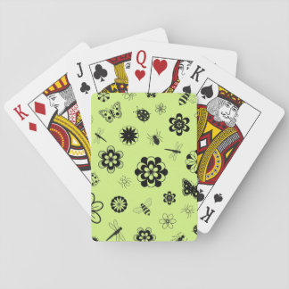 Vector Bugs & Flowers (Grass Green Background) Playing Cards