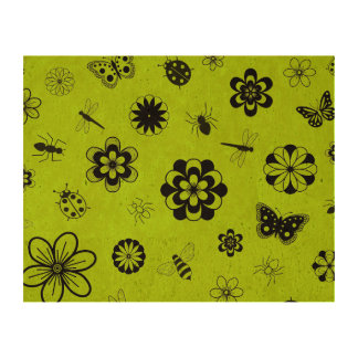 Vector Bugs & Flowers (Grass Green Background) Cork Paper