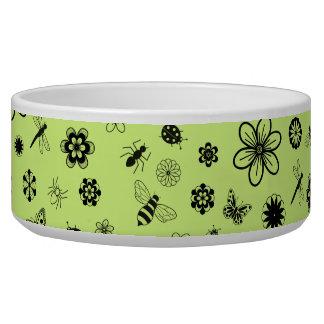 Vector Bugs & Flowers (Grass Green) Dog Food Bowls