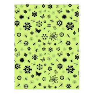 Vector Bugs & Flowers (Grass Green) Postcard