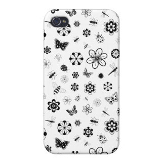 Vector Bugs & Flowers iPhone 4 Case