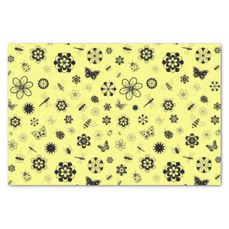 "Vector Bugs & Flowers (Lemon Yellow Background) 10"" X 15"" Tissue Paper"