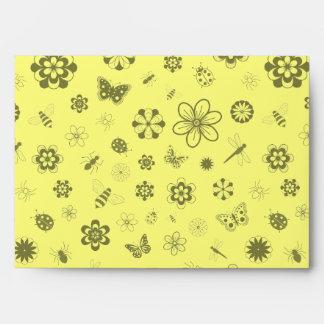 Vector Bugs & Flowers (Lemon Yellow Background #3) Envelope