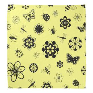 Vector Bugs & Flowers (Lemon Yellow Background) Bandana