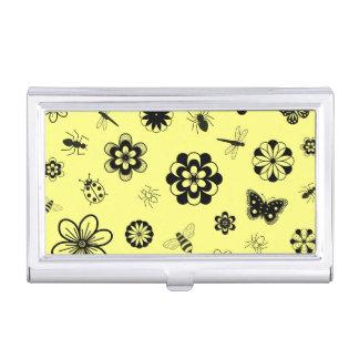 Vector Bugs & Flowers (Lemon Yellow Background) Business Card Holder