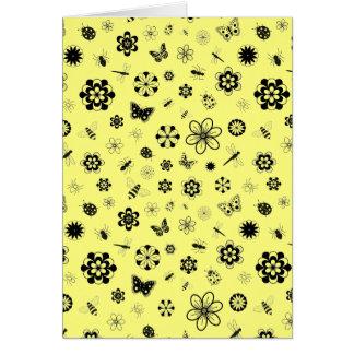 Vector Bugs & Flowers (Lemon Yellow Background) Card