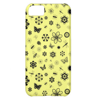 Vector Bugs & Flowers (Lemon Yellow Background) iPhone 5C Case