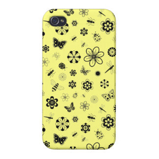 Vector Bugs & Flowers (Lemon Yellow Background) Cover For iPhone 4