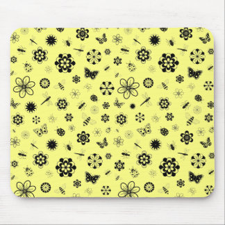 Vector Bugs & Flowers (Lemon Yellow Background) Mouse Pad
