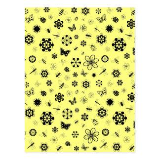 Vector Bugs & Flowers (Lemon Yellow Background) Postcard