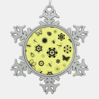 Vector Bugs & Flowers (Lemon Yellow Background) Snowflake Pewter Christmas Ornament
