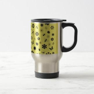 Vector Bugs & Flowers (Lemon Yellow Background) Travel Mug