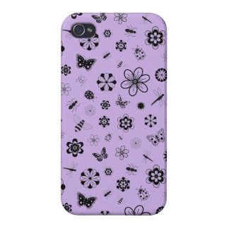 Vector Bugs & Flowers (Lilac Purple Background) iPhone 4 Cases