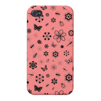 Vector Bugs & Flowers (Poppy Red Background) Cover For iPhone 4